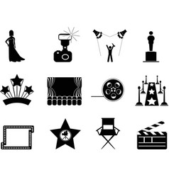 movie and oscar symbol icons vector image vector image