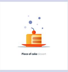 slice of layered cake on dish tasty dessert vector image