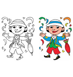 coloring happy carnival mask vector image vector image