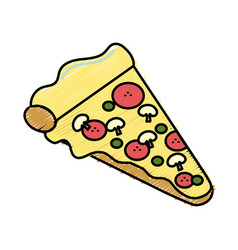 Fast food pizza meal vector