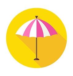 Flat Sun Summer Umbrella Circle Icon with Long vector image vector image