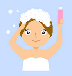 girl washing her hair portrait flat cartoon simple vector image vector image