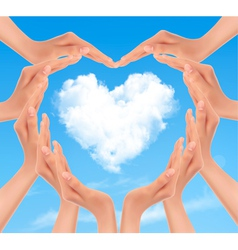 Holiday background with hands making a heart vector image vector image