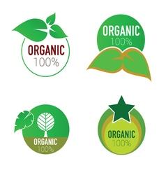 organic icon green circle vector image vector image