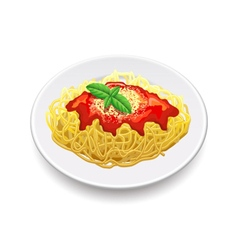 Spaghetti bolognese isolated on white vector image vector image