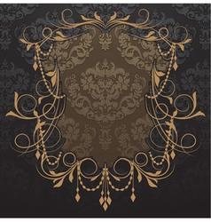 vintage label with damask background vector image