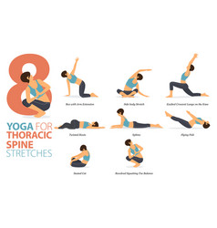 8 yoga poses for thoracic spine stretch concept vector