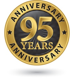 95 years anniversary gold label vector