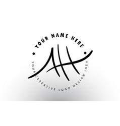 Ah handwritten letters logo design with circular vector