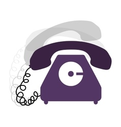 Antique phone design with cord and shadow vector