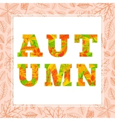Autumn word from colorful leaves vector image