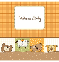 Baby shower card with funny cube animals vector