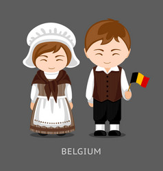 belgians in national dress with a flag vector image
