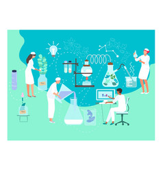 Biology doctor tiny character male female research vector