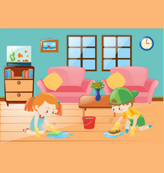 boy and girl cleaning floor vector image