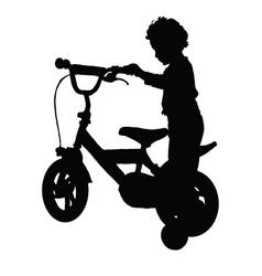 Boy happy drive bike vector