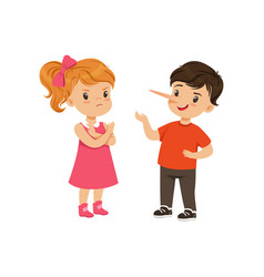 Boy with long nose lying to girl with crossed arms vector