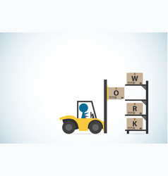 Businessman drive forklift to putting box on shelf vector