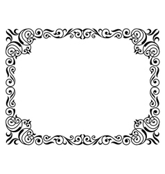 Calligraphy penmanship curly baroque frame black vector