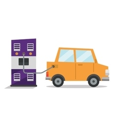 Car at gas station being filled with fuel vector image