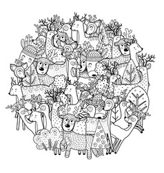 circle shape coloring page with funny deers vector image