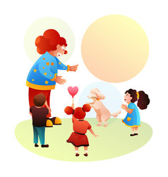 clown and trained doggy performing for happy kids vector image