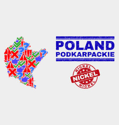 Collage podkarpackie voivodeship map sign vector