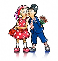 couple small kissing children vector image