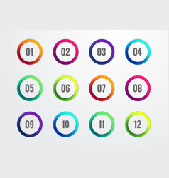 Creative number bullet point set 1 to 12 vector