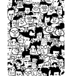 Crowd faces vector
