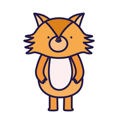 cute fox forest animal cartoon character on white vector image