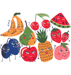 cute funny fruits with smiling faces set banana vector image