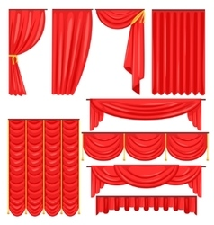 Different types of theatrical stage curtain and vector
