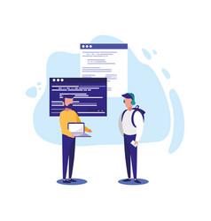 Digital laptop websites and men design vector