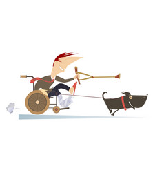 Dog hauling a sick man in the wheelchair by the ro vector