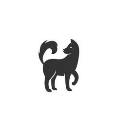 dog silhouette black vector image