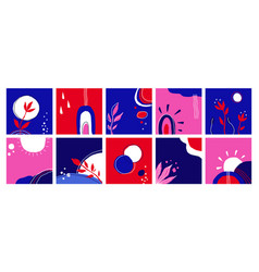 doodle set posters abstract trendy various shapes vector image