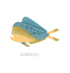 Dorado fish with blue-yellow-green body side view vector