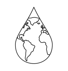 Earth water drop icon outline style vector