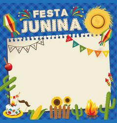 Festa junina brazil june festival retro poster of vector