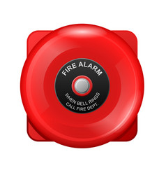 fire alarm red bell siren emergency evacuation vector image