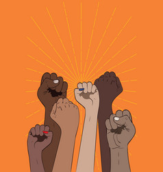 fists raised up banner vector image