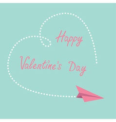 Flying paper plane dash heart valentines day vector