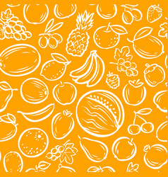 Fruits seamless background agriculture natural vector