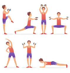 funny handsome man exercising various different vector image
