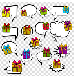 Gift box birthday picture pop art collection vector