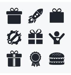 Gift box sign icon Present symbol vector image