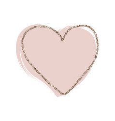 gold glitter line delicate heart on blush pink vector image