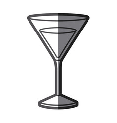 Grayscale silhouette of drink cocktail glass vector