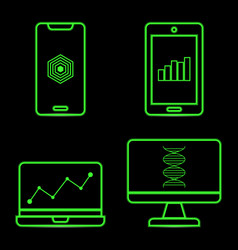 green neon technology icons on black background vector image